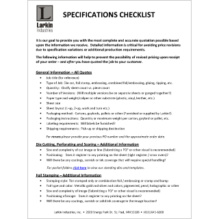 specifications checklist for printing and production twin cities